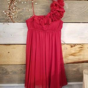 AQUA One Shoulder Red Dress NWOT